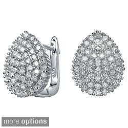 Collette Z Sterling Silver Clear Cubic Zirconia Pear-shaped Cuff Earrings