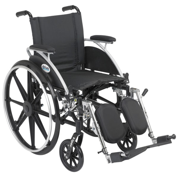 "Drive Medical Viper Wheelchair with Flip Back Removable Arms, Desk Arms, Elevating Leg Rests, 14"" Seat"