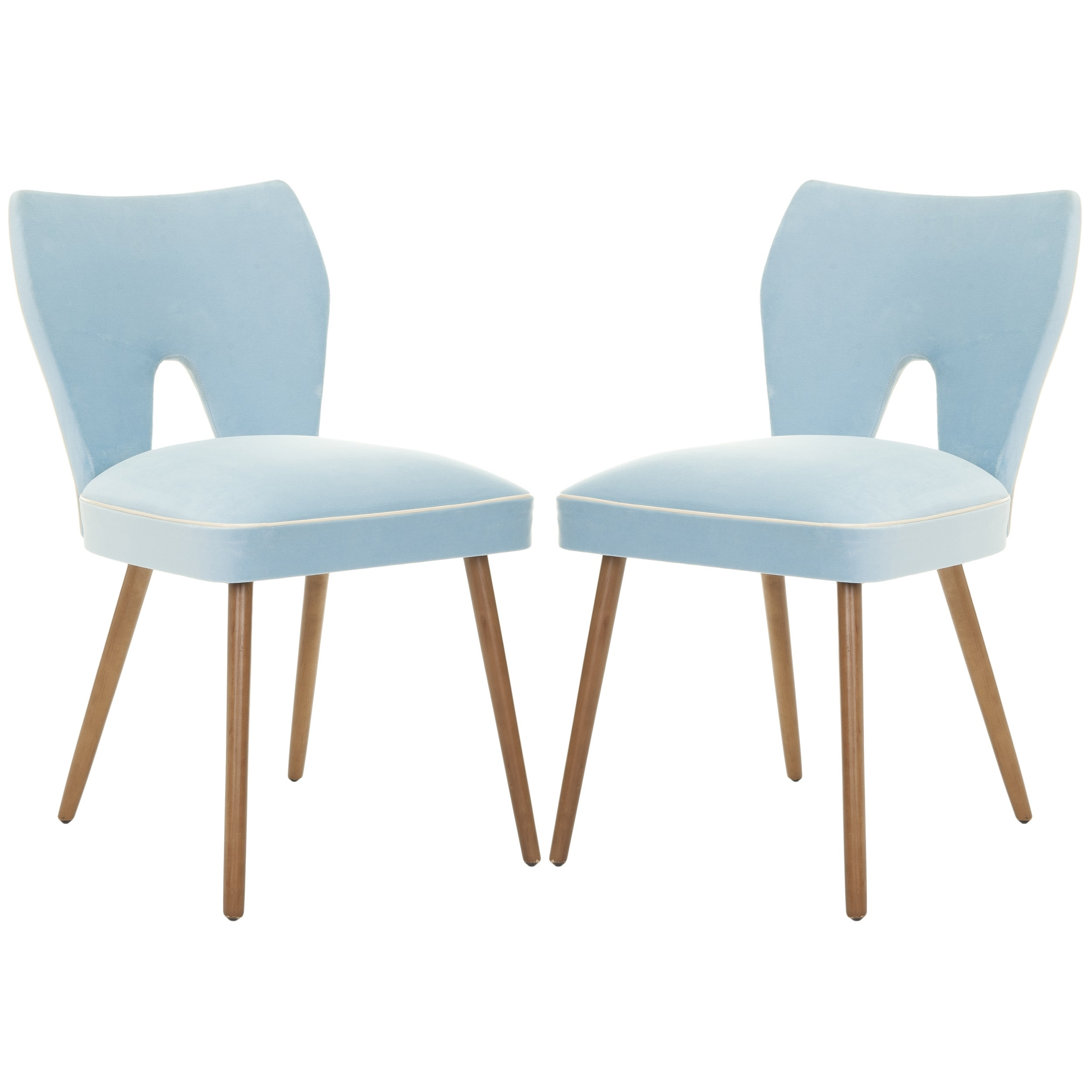 Safavieh Metropolitan Dining Retro Blue Velvet Blend Dining Chairs (Set of 2)