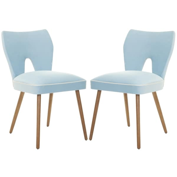 "Safavieh Dining Metropolitan Retro Blue Velvet Blend Dining Chairs (Set of 2) - 18.1""x22.4""x31.7"""