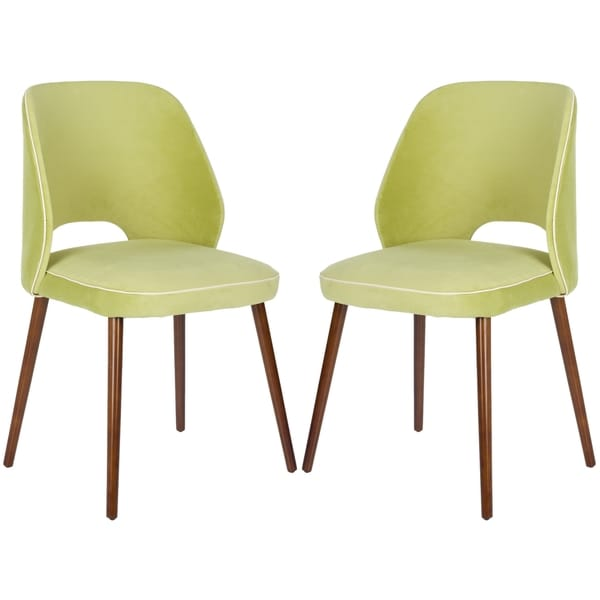 Safavieh Metropolitan Dining Retro Light Green Linen Blend Dining Chairs (Set of 2)