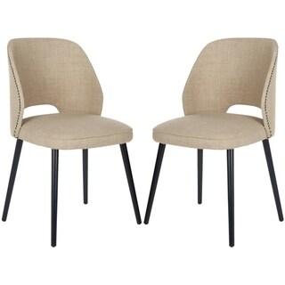 Safavieh Metropolitan Dining Retro Nail head Straw Velvet Blend Side Chairs (Set of 2)