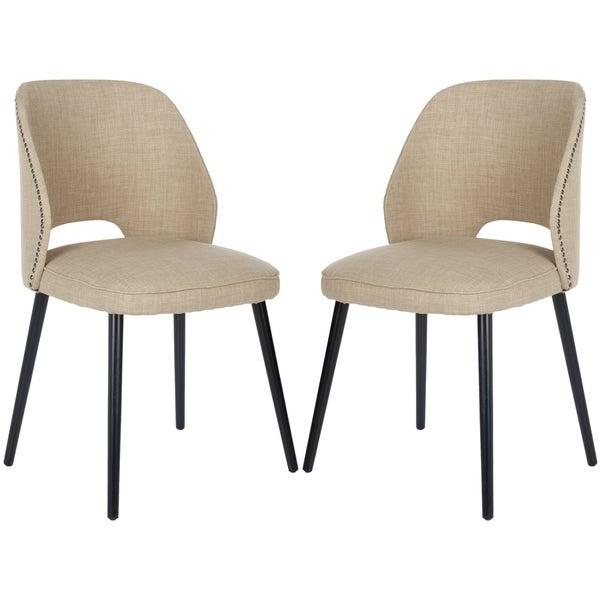 Safavieh Metropolitan Dining Retro Nail head Straw Velvet Blend Dining Chairs (Set of 2)