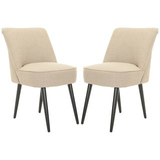 Safavieh Mid-Century Dining Beige Side Chairs (Set of 2)
