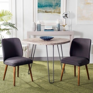 Safavieh Mid-Century Dining Retro Brown Linen Blend Dining Chairs (Set of 2)