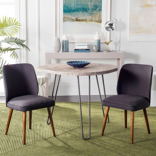 Safavieh Mid-Century Dining Retro Brown Linen Blend Side Chairs (Set of 2)