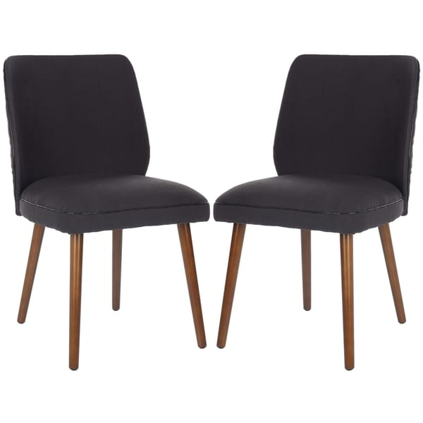 Safavieh Metropolitan Dining Retro Brown Linen Blend Side Chairs (Set of 2)