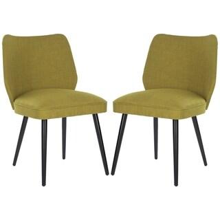 Safavieh Metropolitan Dining Retro Nail head Green Linen Blend Side Chairs (Set of 2)