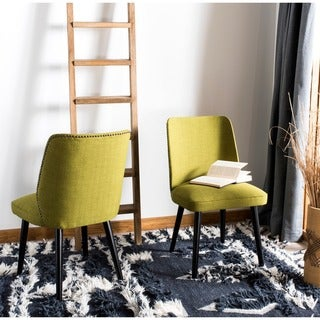 Safavieh Mid-Century Dining Retro Nail head Green Linen Blend Dining Chairs (Set of 2)