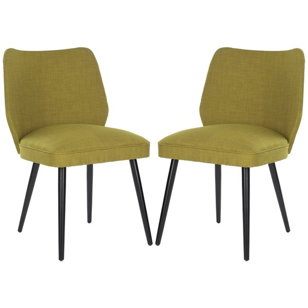 Safavieh Mid-Century Dining Retro Nail head Green Linen Blend Side Chairs (Set of 2)