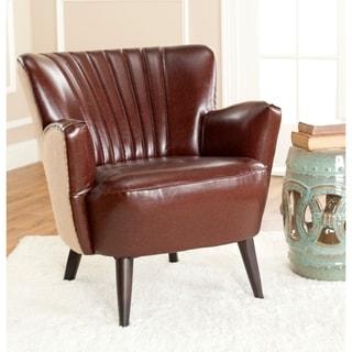 Safavieh Mid-Century Modern Leather / Jute Back Club Chair