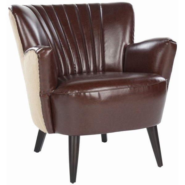 Safavieh Mid-Century Modern Leather / Jute Back Club Chair