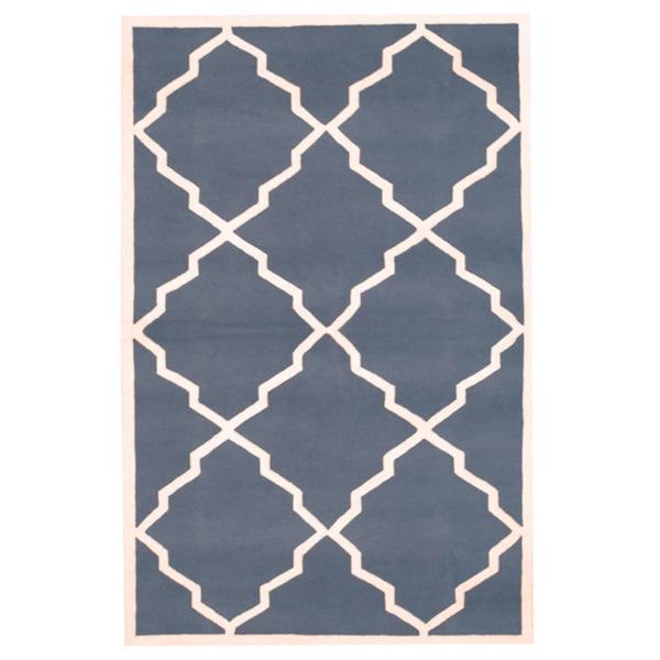 Herat Oriental Indo Hand-tufted Tibetan Grey/ Ivory Wool Area Rug (5' x 8')