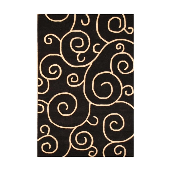 Herat Oriental Contemporary Indo Hand-tufted Black/ Ivory Wool Rug (4' x 6')