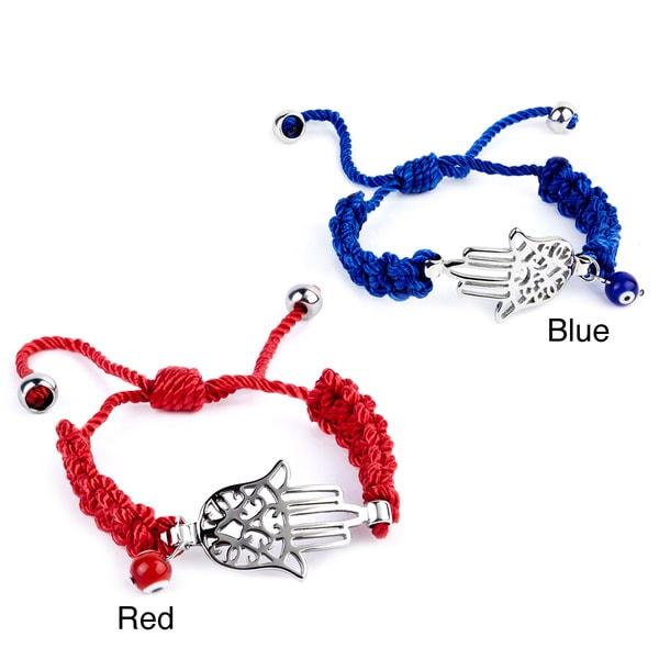 Stainless Steel Hamsa and Evil Eye Cotton Charm Bracelet