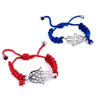Stainless Steel Hamsa and Evil Eye Cotton Charm Bracelet
