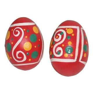 Set of 2 Pairs of Pink Hand Painted Wooden Egg Shakers (Indonesia)