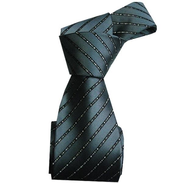 Dmitry Men's Italian Grey Striped 100 Percent Silk Tie