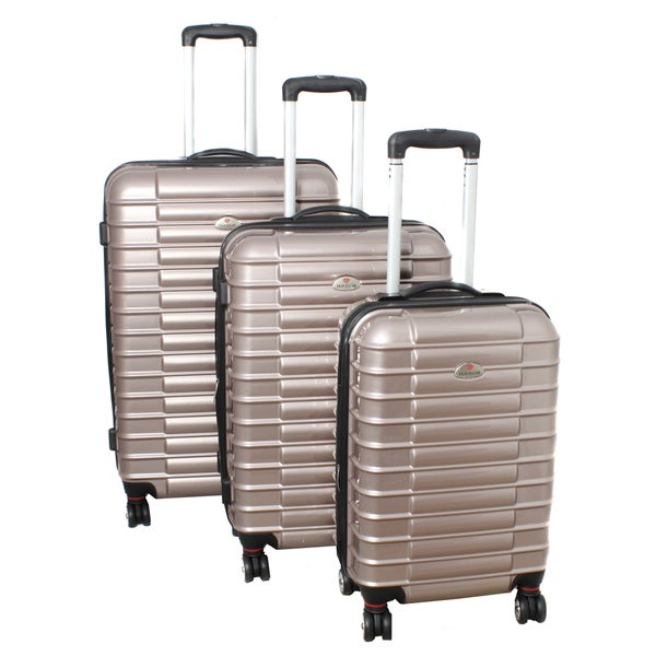 American Travelcar 3-piece Beige Lightweight Expandable Hardside Spinner Luggage Set with TSA Lock