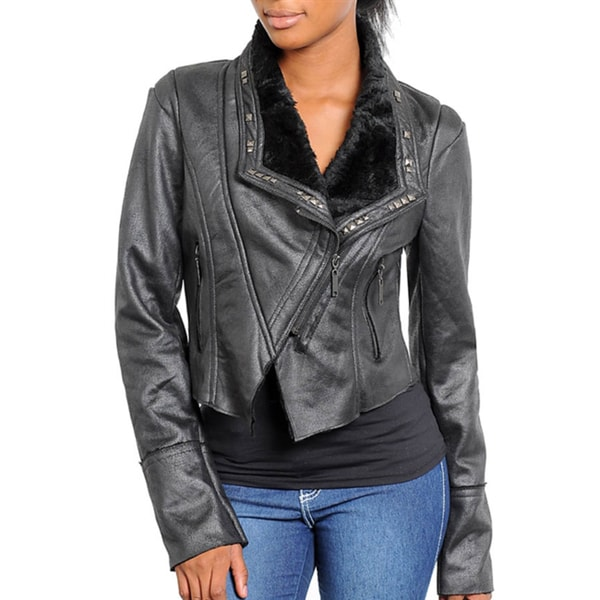 Stanzino Women's Studded Cropped Motorcycle Jacket - Black