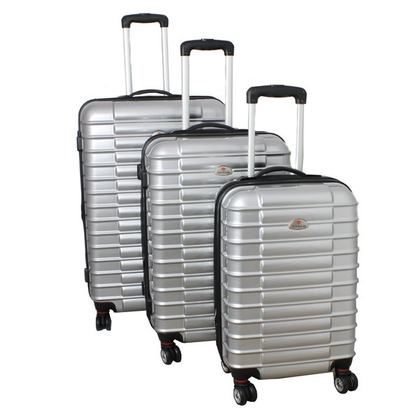 American Travelcar 3-piece Silver Lightweight Expandable Hardside Spinner Luggage Set with TSA Lock