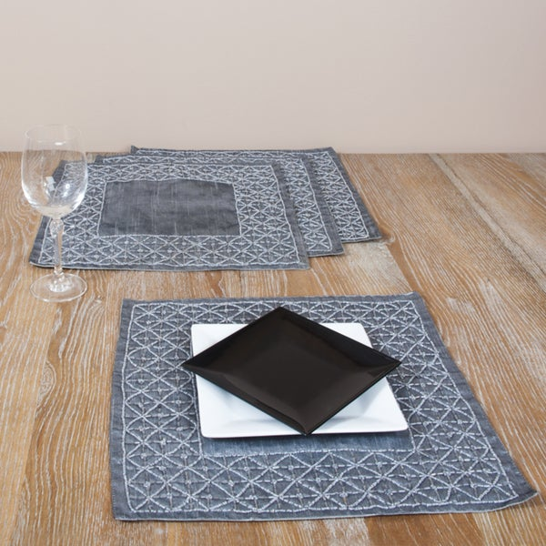 Hand-beaded Square Grey Placemats (Set of 4)