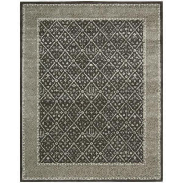 Nourison Hand-tufted Symphony Diamond Pattern Charcoal Rug (9'6 x 13)