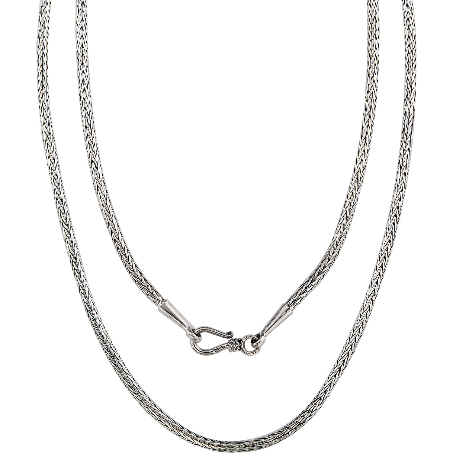Handmade Wheat Style 925 Sterling Silver Chain Necklace