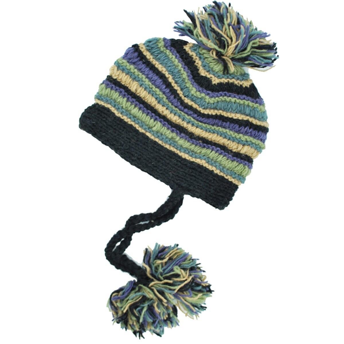 Handmade Pom Pom Girl Hat (Nepal) (Black), Size One Size ...