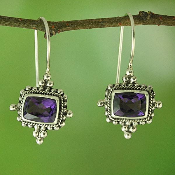 Sterling Silver/ Amethyst Beaded Beauty Dangle Earrings(Indonesia)