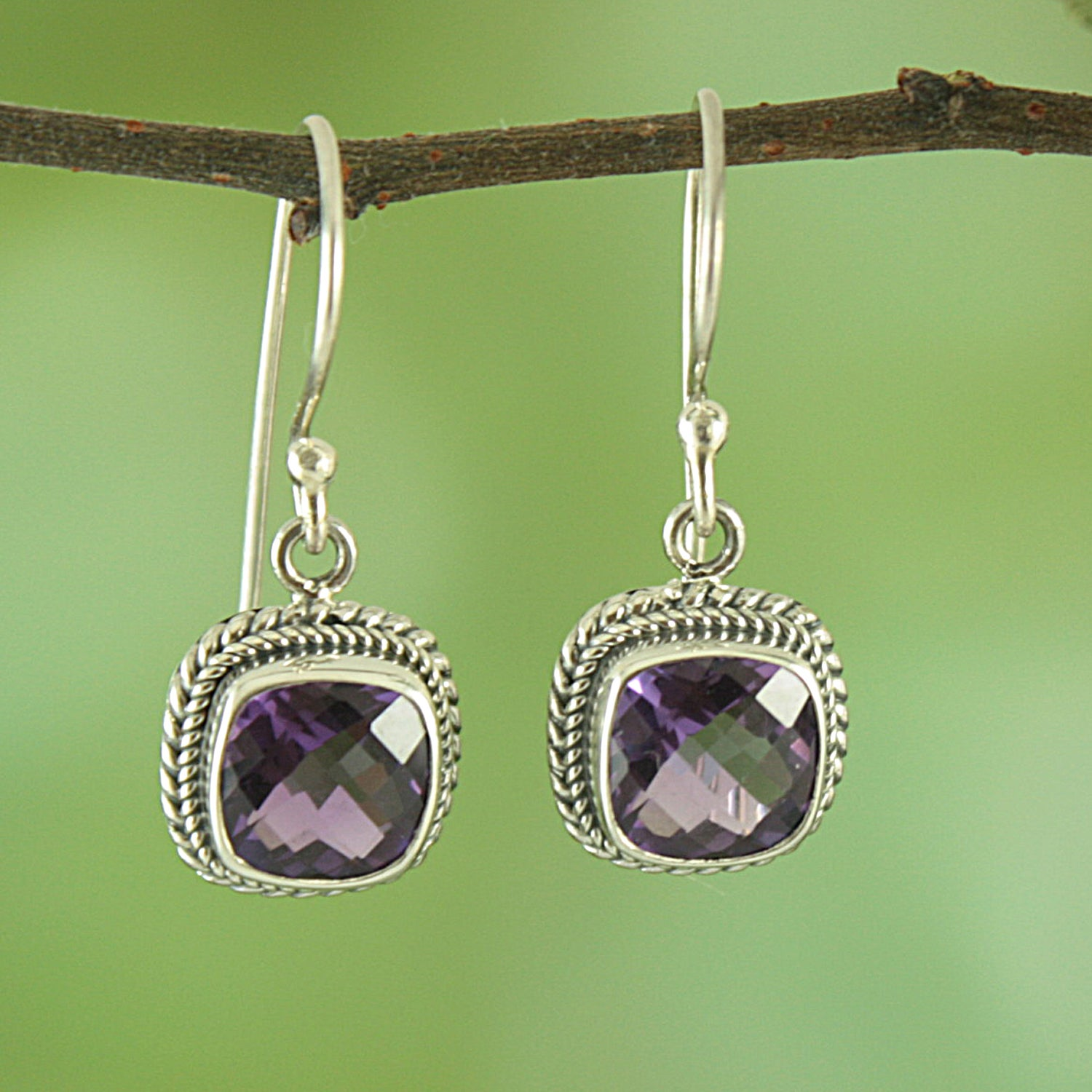 Sterling Silver/ Amethyst Square Rope Edge Dangle Earrings (Indonesia)