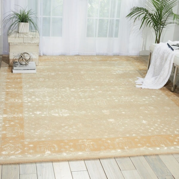 Nourison Hand-tufted Symphony Bordered Gold Oak Rug - 9'6 x 13