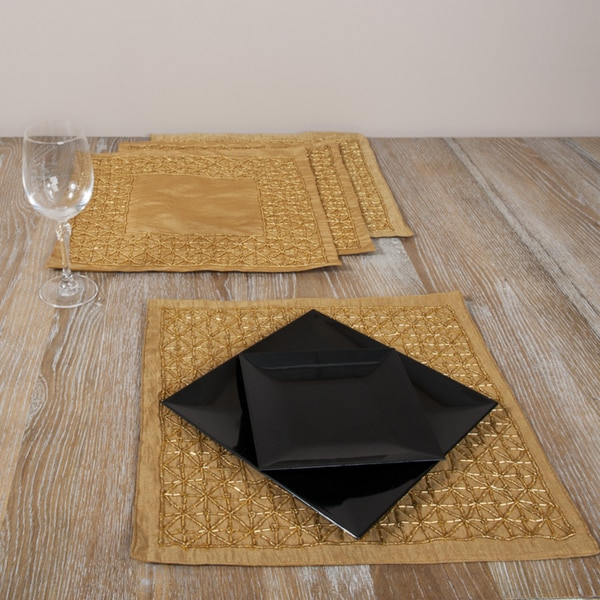 Hand-beaded Square Caramel Placemats (Set of 4)
