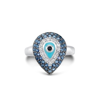 Silver Sapphire and 1/8ct TDW Diamond Evil Eye Ring (J-K, I2-I3)