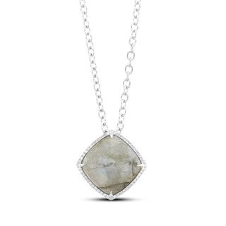 Sterling Silver Light Agate and 1/5ct TDW Diamond Necklace (J-K, I2-I3)
