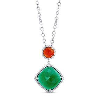 Silver Red/ Green Agate and 1/6ct TDW Diamond Necklace (JK, I2-I3)