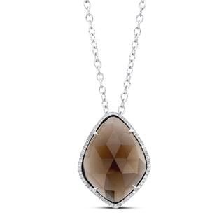 Silver Smokey Quartz and 1/3ct TDW Diamond Necklace (J-K, I2-I3)