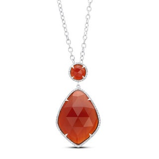 Sterling Silver Red Agate and 1/4ct TDW Diamond Necklace (J-K, I2-I3)