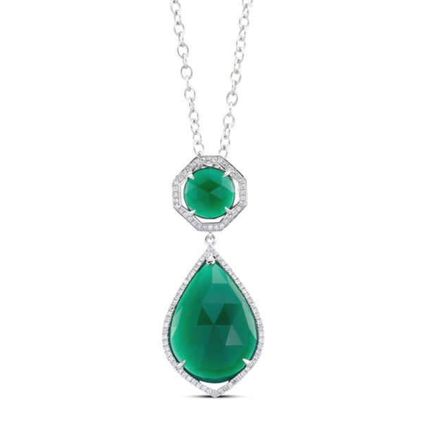 Sterling Silver Green Agate and 1/6ct TDW Diamond Necklace (J-K, I2-I3)