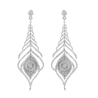 Victoria Kay Sterling Silver 1/2ct TDW Diamond Feather Earrings (J-K, I2-I3)
