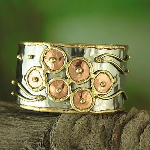 Handmade Hammered Brass/ Copper Happy Circles Cuff Bracelet (India)