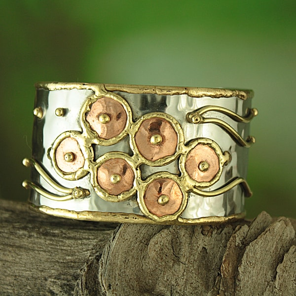 Handmade Hammered Brass/ Copper Happy Circles Cuff Bracelet (India)