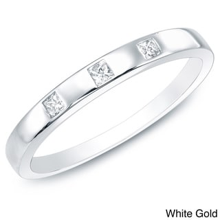 10k Gold 1/10 ct TDW 3-stone Stackable Wedding Band