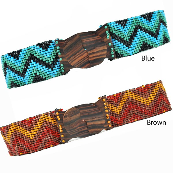 Zig Zag Retro Beaded Belt (Indonesia)
