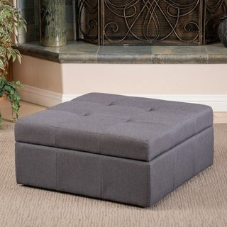 Chatsworth Fabric Storage Ottoman by Christopher Knight Home (Brown/Grey)