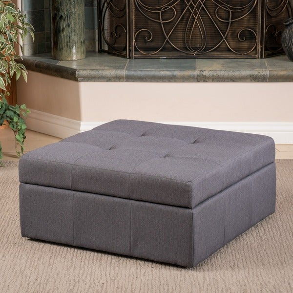 Chatsworth Brown-Grey Fabric Storage Ottoman by Christopher Knight Home