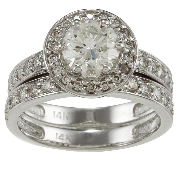 Auriya 14k White Gold 2 1/4ct TDW Certified Diamond Bridal Ring Set
