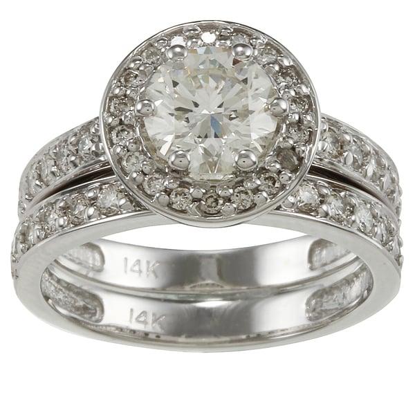 Auriya 14k White Gold 2 1/4ct TDW Certified Diamond Bridal Ring Set