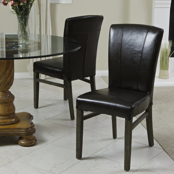 Adonis Espresso Brown Leather Dining Chairs (Set of 2) by Christopher Knight Home