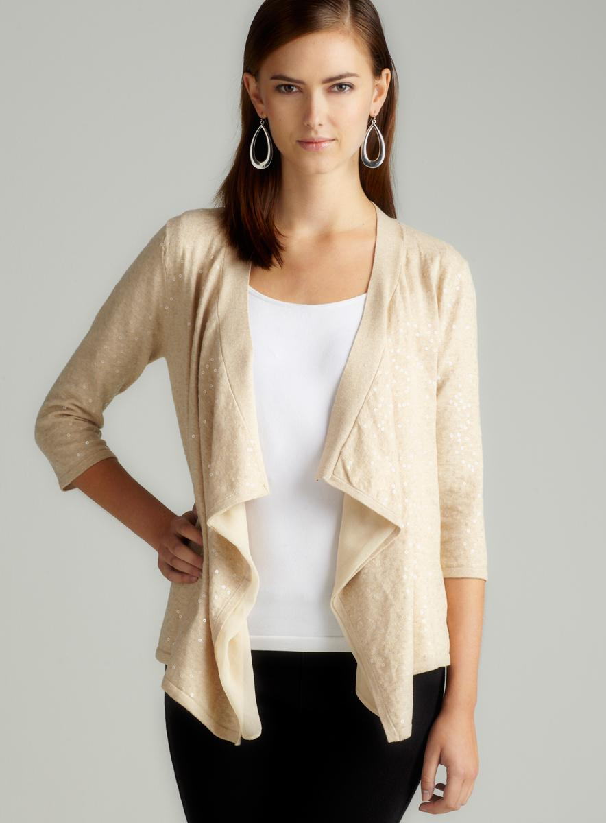 Minnie Rose Open Front Cotton Sequin Cardigan